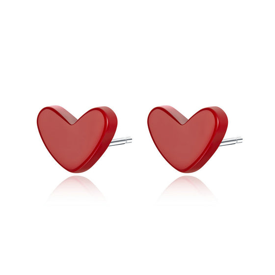 WOSTU Exquisite Love-Shape Stud Earrings 925 Sterling Silver Delicate Heart Tiny Earrings For Women Girls Lover Jewelry SCE595 - WOSTU