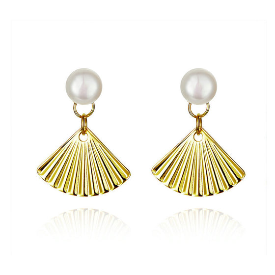 WOSTU Golden Shell & Freshwater Pearls Stud Earrings Small Earrings For Women Delicate Luxury Jewelry SCE596 - WOSTU