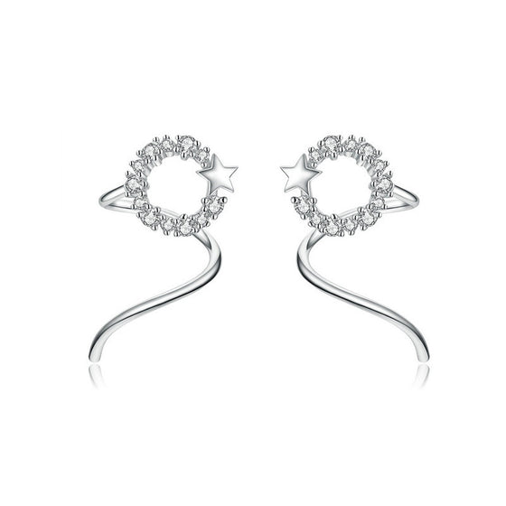 WOSTU Genuine 925 Sterling Silver Star Surround Earrings Clear Zircon For Women Korean Earings Fashion Jewelry 2019 SCE637 - WOSTU
