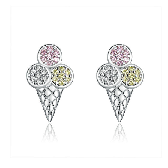 WOSTU 100% 925 Sterling Silver Ice cream Earrings Korean Style Lovely Earrings For Women 2019 Statement Small Earrings SCE642 - WOSTU