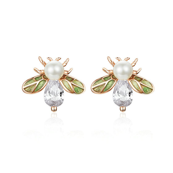 WOSTU Animal Bee Stud Earrings 100% 925 Sterling Silver Freshwater Pearls Zircon Earrings For Women Wedding Party Jewelry SCE643 - WOSTU