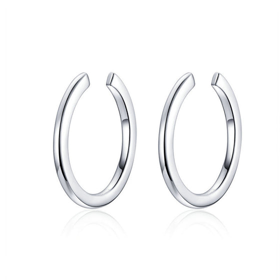 WOSTU Classic Circle Hoop Earrings 100% 925 Sterling Silver Small Earrings For Women Wedding Fashion Minimalist Jewelry SCE647 - WOSTU