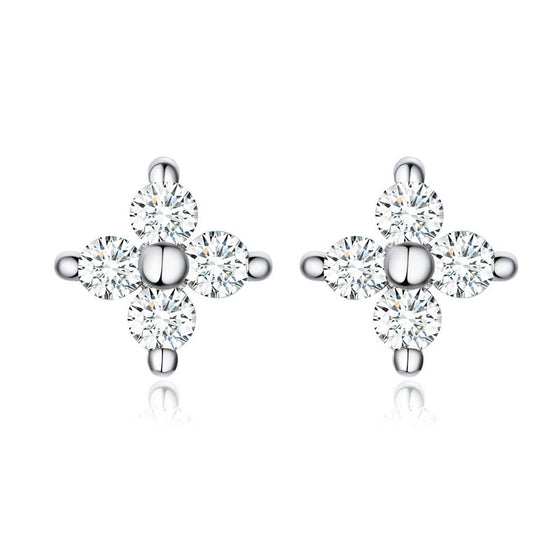 WOSTU Flower Small Earrings Dazzling Zircon Earrings For Women Statement Silver 925 Jewelry SCE648 - WOSTU