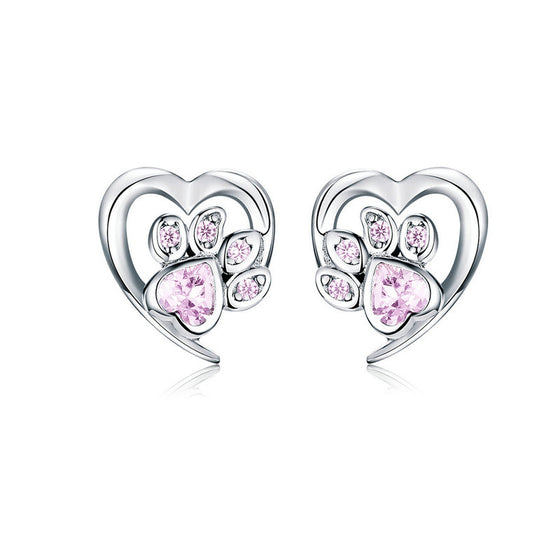 WOSTU Paw Dog Footprint Heart Stud Earrings SCE654-PK