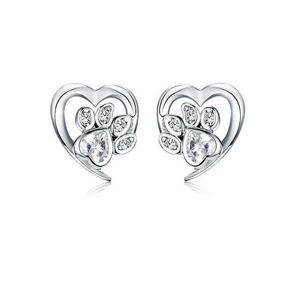 WOSTU Paw Dog Footprint Heart Stud Earrings SCE654-WH - WOSTU