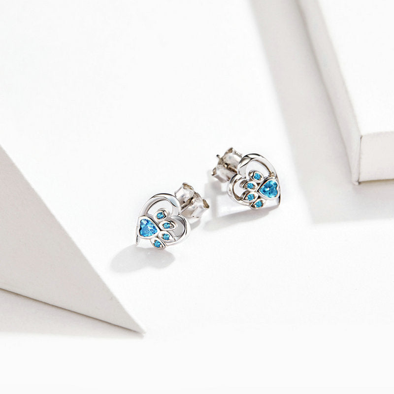 WOSTU Dog Paw Footprint Heart Earrings Blue Zircon Earrings For Women Wedding Luxury Jewelry SCE654 - WOSTU