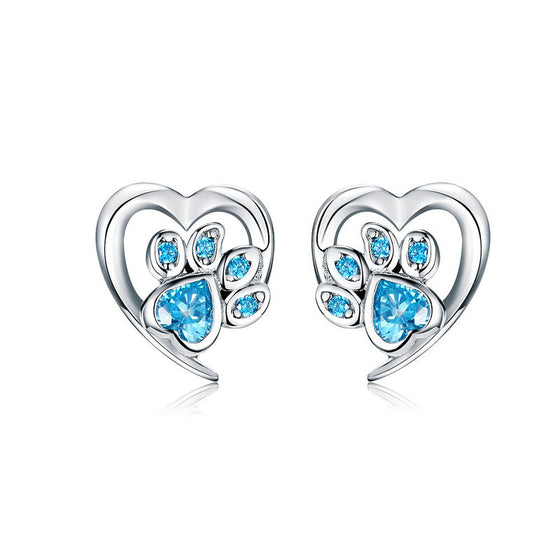 WOSTU Dog Paw Footprint Heart Earrings 100% 925 Sterling Silver Blue Zircon Earrings For Women Wedding Luxury Jewelry SCE654 - WOSTU