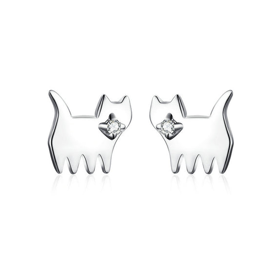 WOSTU Lovely Cat Stud Earrings 100% 925 Sterling Silver Small Earrings For Women Wedding Silver 925 Jewelry Korean Style SCE656 - WOSTU
