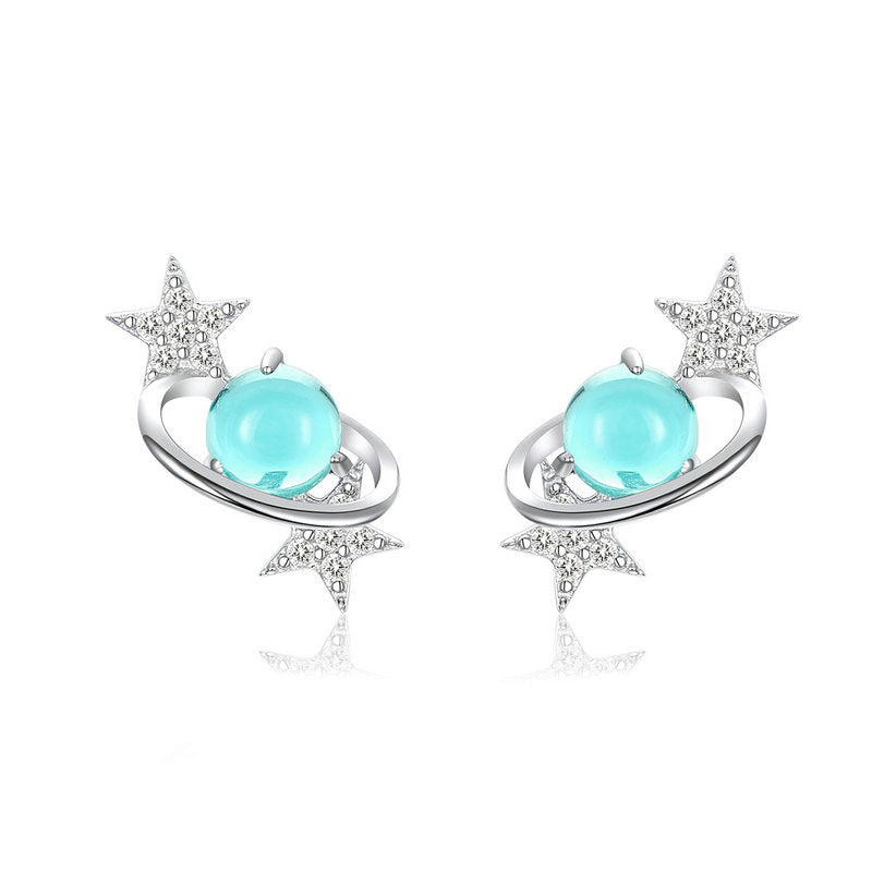 WOSTU Interstellar BLUE GEM STAR EARRINGS SCE701 - WOSTU