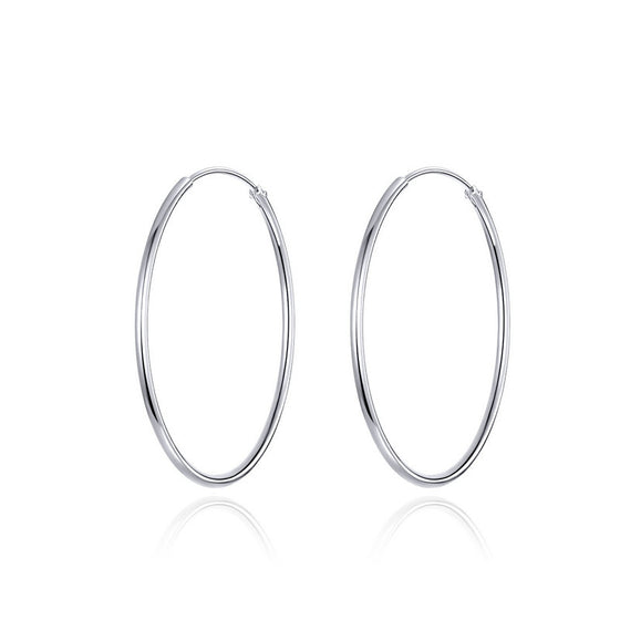 WOSTU SIMPLE LINE ROUND SILVER EARRINGS SCE710 - WOSTU