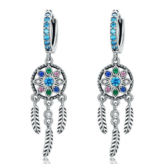 WOSTU DREAM CATCHER DROP EARRINGS SCE713 - WOSTU