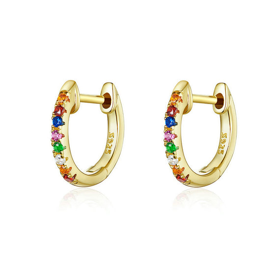 WOSTU Colorful Zircon Gold Stud Earrings SCE721-B - WOSTU