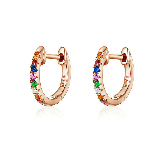WOSTU Colorful Zircon Rose Gold Stud Earrings SCE721-C - WOSTU