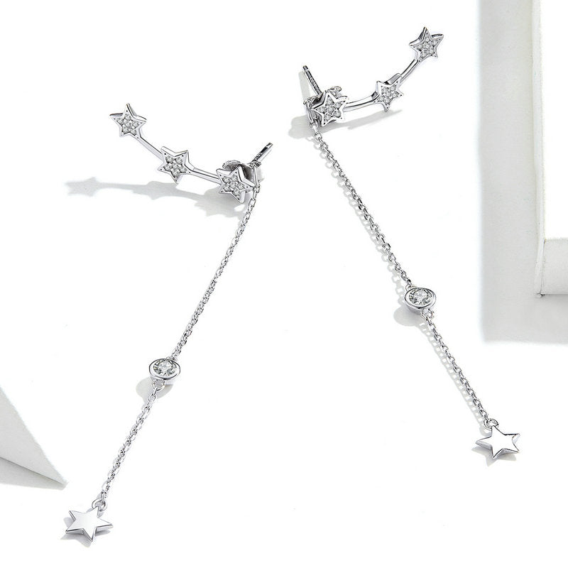 WOSTU STARS STUD DROP LONG EARRINGS SCE727 - WOSTU