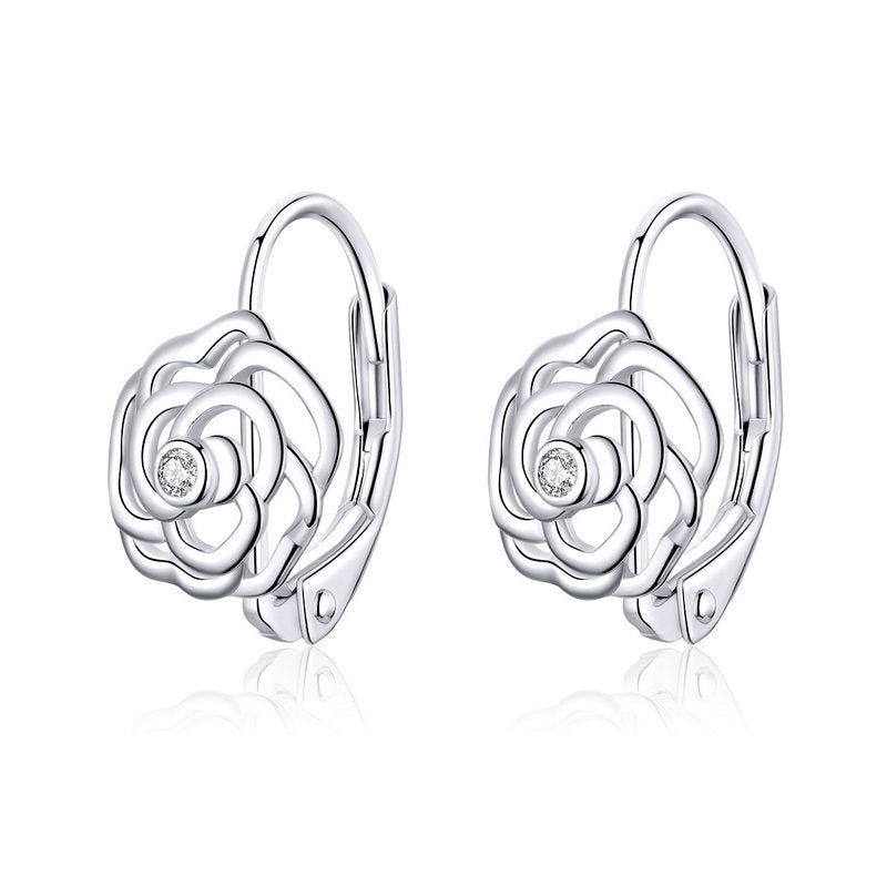 WOSTU SILVER FLOWER ROUND EARRINGS SCE745 - WOSTU