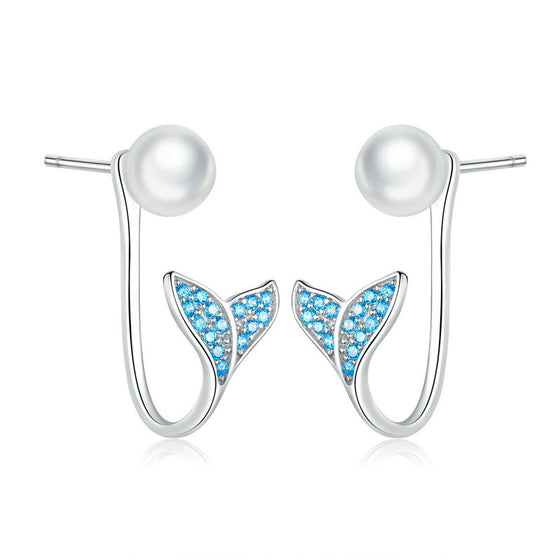 WOSTU Blue Mermaid Fishtail Stud Earrings SCE761 - WOSTU