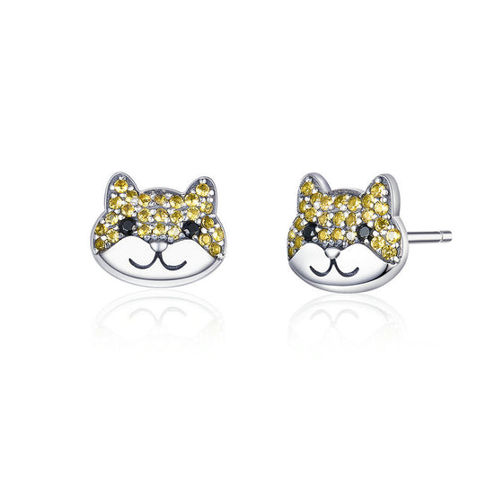 WOSTU Dog Stud Stud Earrings For Women SCE769 - WOSTU