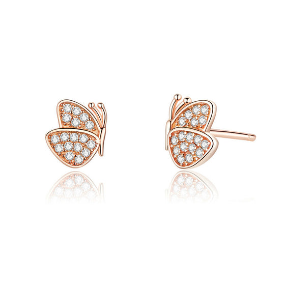 WOSTU Noble Rose Gold Dancing Butterfly Stud Earrings SCE776