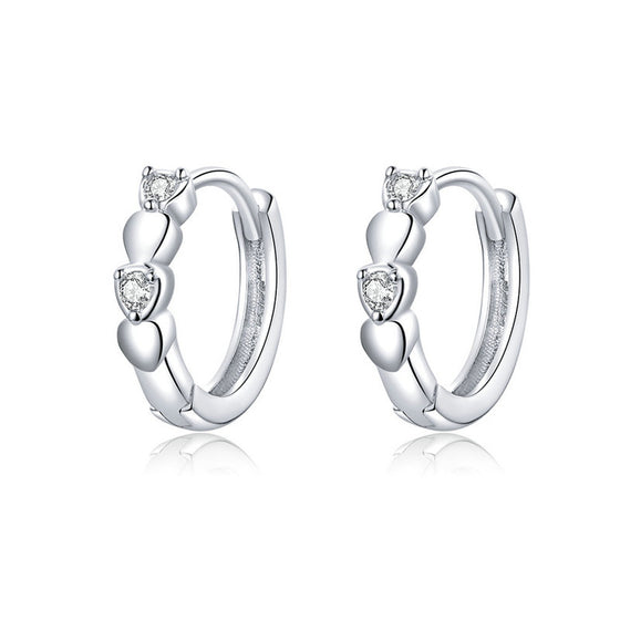 WOSTU Hoop Shining Heart Earrings Wedding Gift SCE777