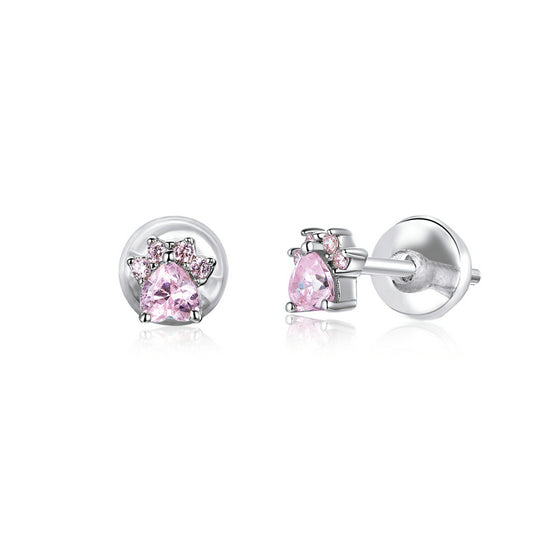 Pink CZ Cat Paw Stud Earrings SCE781 - WOSTU