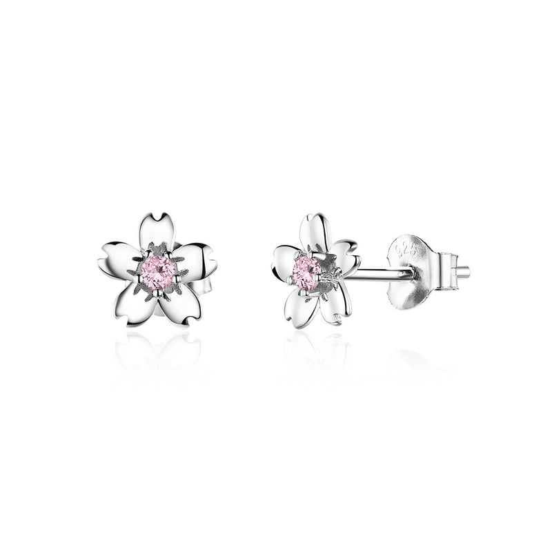 Pink Cherry Flower Stud Earrings SCE784 - WOSTU