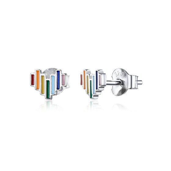 Rainbow Heart Stud Earrings SCE787 - WOSTU