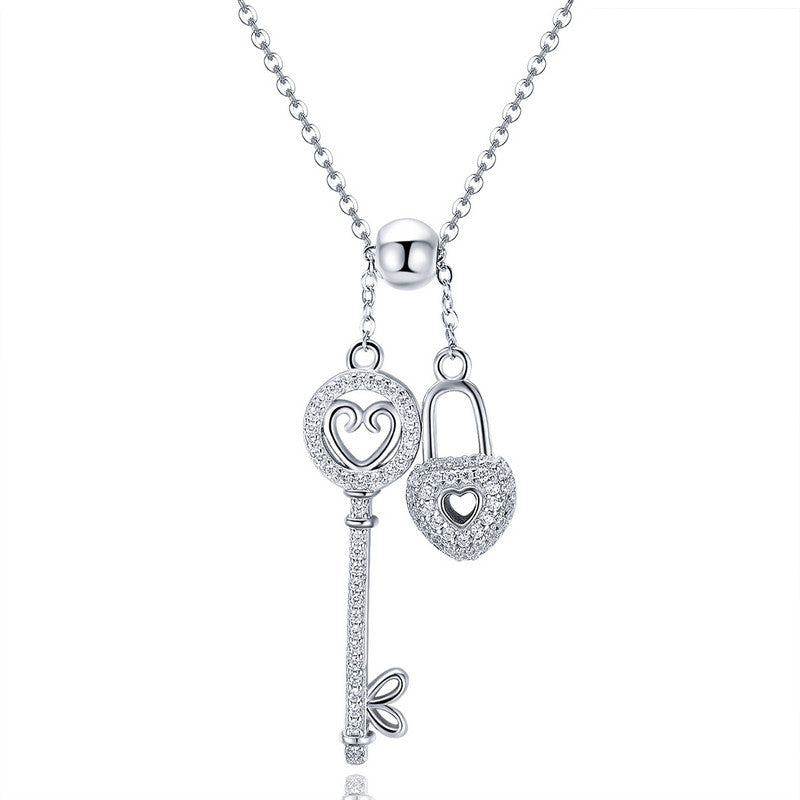 WOSTU Luxury 925 Sterling Silver The Key of Heart Lock Pendant Necklace For Women Girlfriend Wife Fashion Jewelry Gift SCN290 - WOSTU