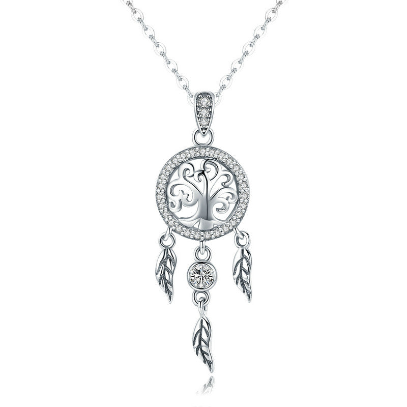 WOSTU Vintage 925 Sterling Silver Life Tree & Dreamcatcher Pendant Necklace For Women Good Lucky Fashion Jewelry Gift SCN298 - WOSTU