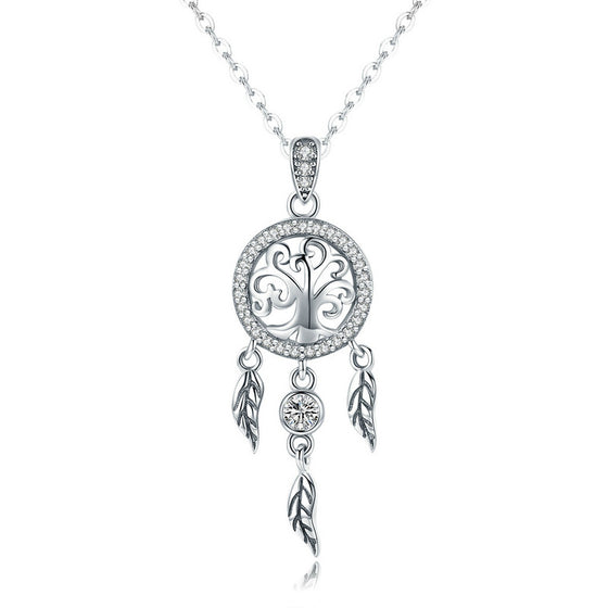 7f57950b8 WOSTU Vintage 925 Sterling Silver Life Tree & Dreamcatcher Pendant Necklace  For Women Good Lucky Fashion