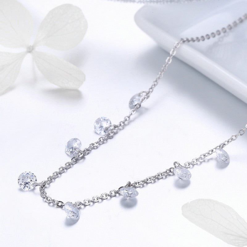 WOSTU NEW Design 925 Sterling Silver Sparkling CZ Chokers Necklace For Women Hot Fashion Jewelry Christmas Gift SCN299