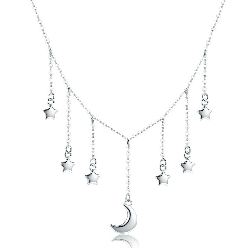 WOSTU Authentic 925 Sterling Silver Stars & Moon Chains Necklace For Women S925 Silver Brand Jewelry New Year Gift SCN301 - WOSTU