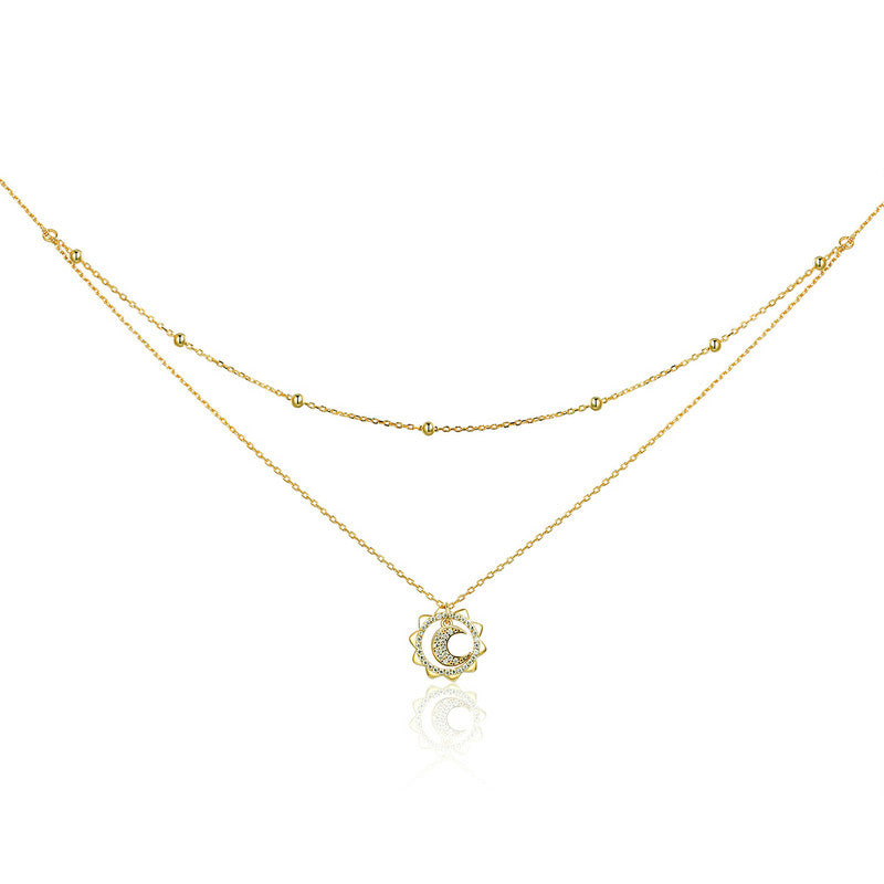 WOSTU & Gold Color Moon In Sun Pendant Necklace For Women Birthday Jewelry Fashion Gift SCN305 - WOSTU