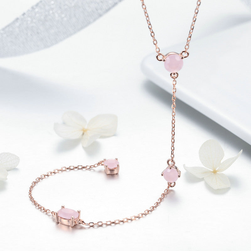 WOSTU Pink Stone Pendant Chains Necklaces For Women Unique Sweet Jewelry Accessories Gift SCN306 - WOSTU