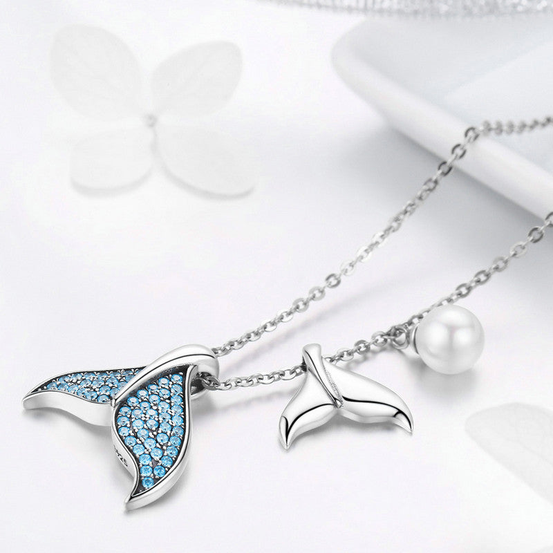 WOSTU Authentic 925 Sterling Silver Tears From Mermaid Pendant Necklaces For Women Anniversary Engagement Brand Jewelry SCN309