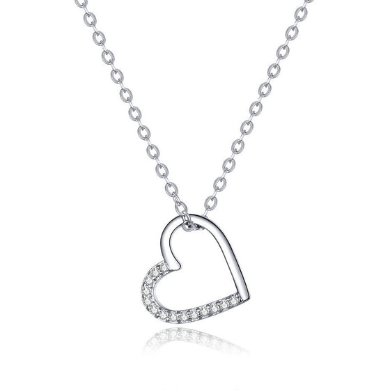 WOSTU LOVED HEART SILVER NECKLACE SCN347 - WOSTU