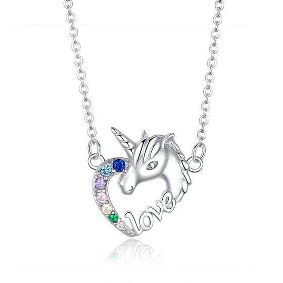 WOSTU COLORFUL CRYSTAL ZIRCON UNICORN NECKLACE SCN348 - WOSTU