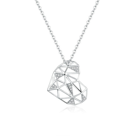 WOSTU Openwork Heart Necklace Jewelry SCN364 - WOSTU
