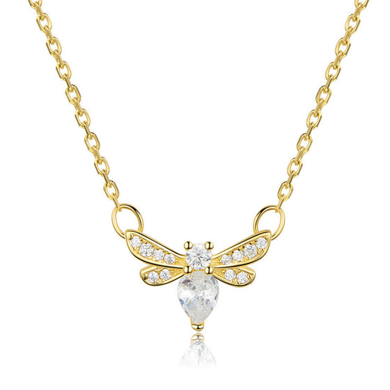 WOSTU Gold Bee Necklace For Women SCN373