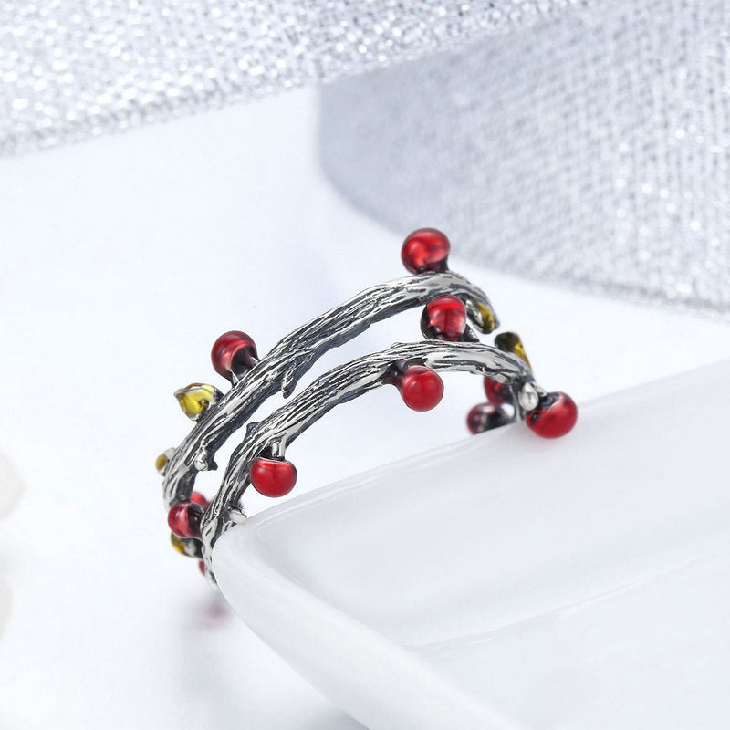 WOSTU High Quality 925 Sterling Silver Autumn Plant Finger Rings For Women Travel Ring Anel Original Brand Jewelry Gift SCR442 - WOSTU