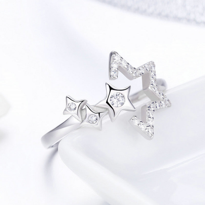 WOSTU Pure Dazzling Stars Finger Rings For Women Female Luxury Party Ring Anel Jewelry Christmas Gift SCR452 - WOSTU