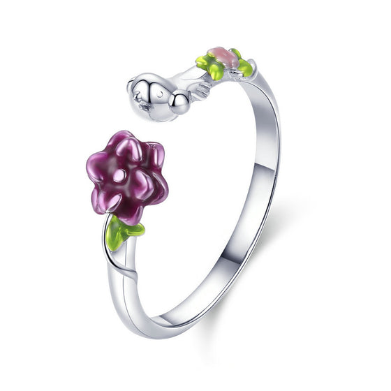 WOSTU 925 Sterling Silver Purple Flowers Green Vines Adjustable Rings For Women Birthday Original Sweet Jewelry Gift SCR462