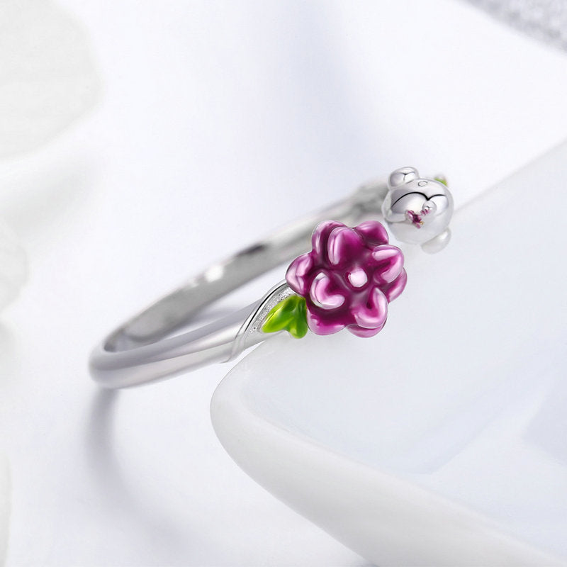 WOSTU Purple Flowers Green Vines Adjustable Rings For Women Birthday Original Sweet Jewelry Gift SCR462 - WOSTU