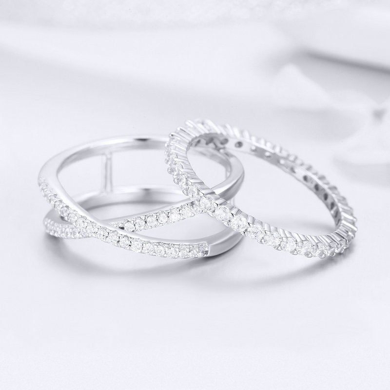 WOSTU Authentic 100% 925 Sterling Silver Loving Double Rings for Women Engagement Wedding Minimalism Silver Jewelry Gift SCR463 - WOSTU