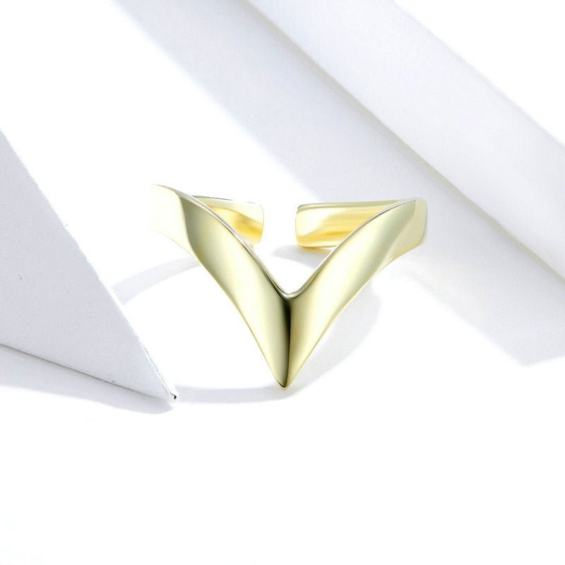 WOSTU V Shape Gold Color Ring Jewelry Gift SCR470-B - WOSTU