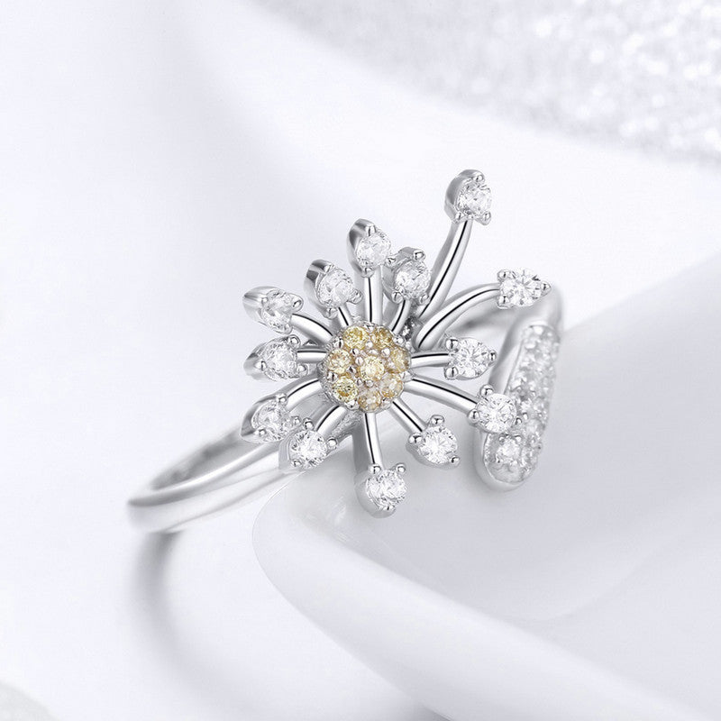 WOSTU White Dandelion Rings For Women Birthday Fashion Elegant SJewelry Gift SCR471 - WOSTU