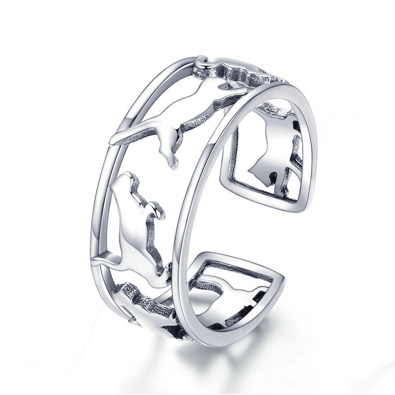 WOSTU Happy Kitty Rings For Women Wedding Elegant Ring Romantic Simple Jewelry Gift  SCR473 - WOSTU