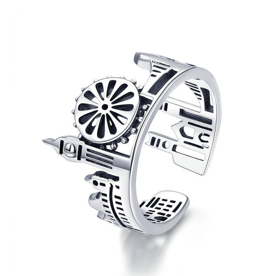 WOSTU Top Sale 925 Sterling Silver London City Rings For Women Romantic Vintage Ring Fashion Punk Party Jewelry Best Gift SCR474