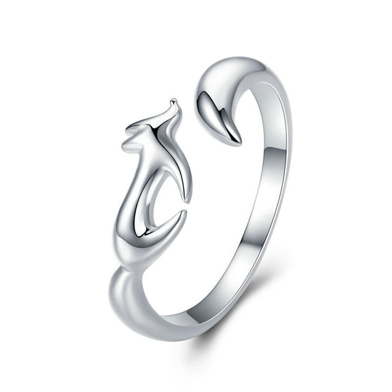 WOSTU Real 100% 925 Sterling Silver Fox Animal Simple Rings For Women Anniversary Party Luxury Ring Romantic Jewelry Gift SCR478