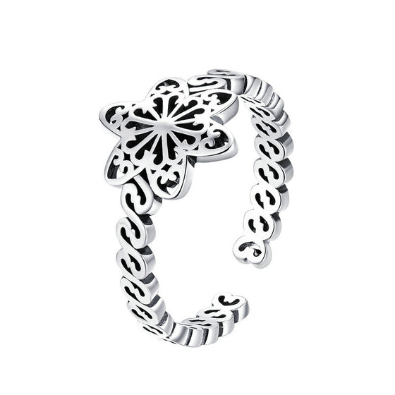 WOSTU Snowflake Flower Rings For Women Adjustable Silver Finger Ring Wedding Party Jewelry SCR482 - WOSTU