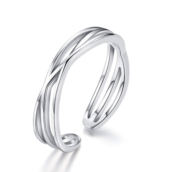 WOSTU Luxury 925 Sterling Silver Simple Wave Ring For Women Geometric Twisted Silver Finger Ring Wedding Party Jewelry SCR483 - WOSTU